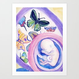Butterfly Baby Belly - Reflection on Pregnancy Art Print