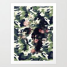 Camouflage Skull Art Print
