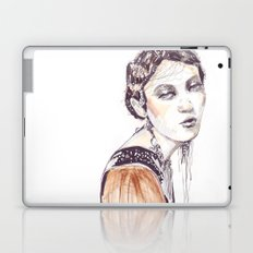 Fashion illustration with golden watercolors Laptop & iPad Skin
