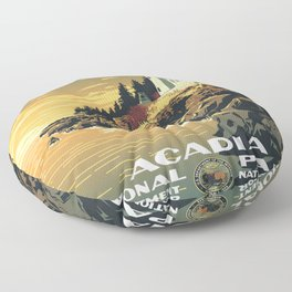 Vintage poster - Acadia National Park Floor Pillow