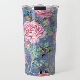 Vintage Watercolor hummingbird and English Roses on blue Background Travel Mug
