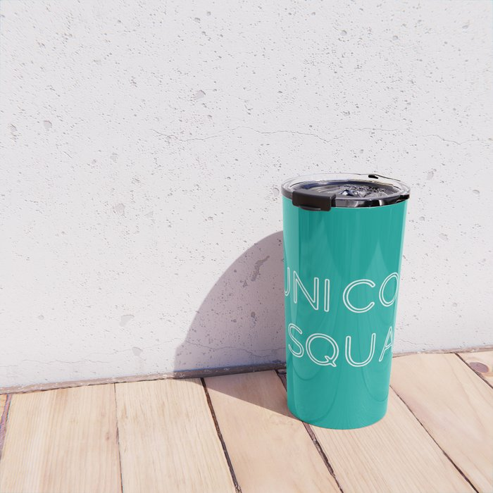 Unicorn Squad - Aqua Blue Green and White Travel Mug