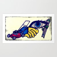 motorcycle Art Prints featuring Motorcycle by Funniestplace