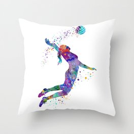 Volleyball Girl Colorful Blue Purple Watercolor Artwork Throw Pillow