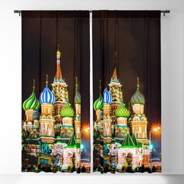 Saint Basil's Cathedral On Moscow Red Square At Winter Night Blackout Curtain