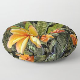 Hawaiian Plumeria at First Light Floor Pillow