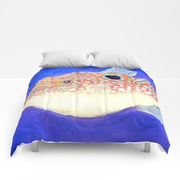 Blue Spotted Orange Toby Puffer Comforters