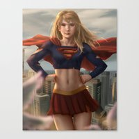 supergirl Canvas Prints featuring Supergirl by Pat Ventura