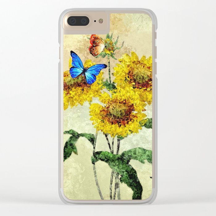 Summer Flowers and Butterflies Clear iPhone Case
