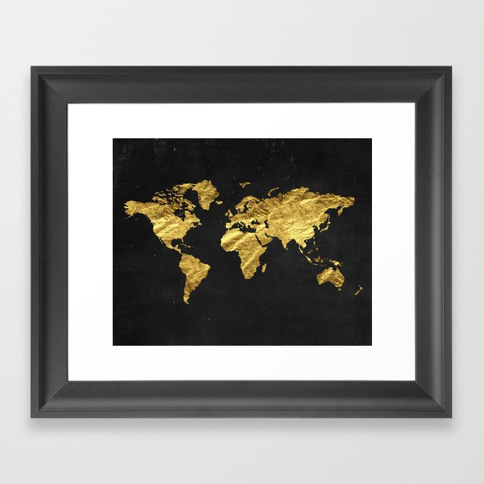 Gold World Map Wall Art.Gold World Map Framed Art Print By Peachandgold Society6