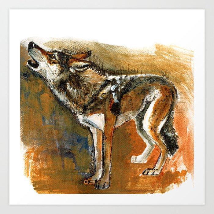 Totem arabian Desert Wolf Art Print