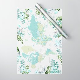 Mint and green floral world map with cities Wrapping Paper