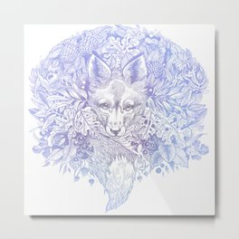 Pastel Purple Hiding Fox Drawing Metal Print