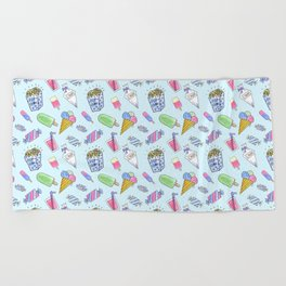 Cute candy and ice-cream pattern Beach Towel