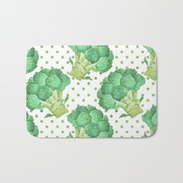 Broccoli on Green dotted Background Bath Mat