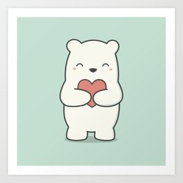 Kawaii Cute Polar Bear Art Print