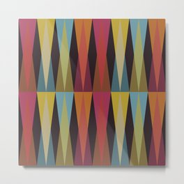 Party Argyle on Chocolate Brown Metal Print