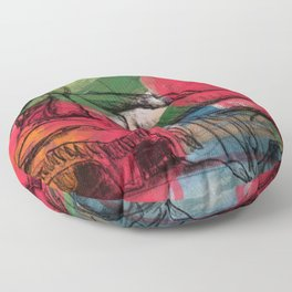 Reclining nude in the flowers Floor Pillow