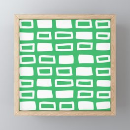 Mid Century Modern Abstract Squares Pattern 641 Green Framed Mini Art Print