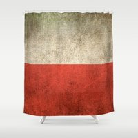 poland Shower Curtains featuring Old and Worn Distressed Vintage Flag of Poland by Jeff Bartels