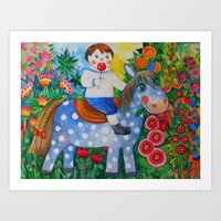 pony Art Prints featuring Pony by oxana zaika