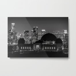 Griffith Observatory, Los Angeles city lights black and white photograph / black and white photography Metal Print