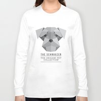 schnauzer Long Sleeve T-shirts featuring The Schnauzer by The Origami Pet Collection
