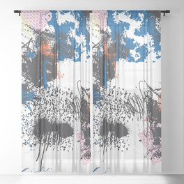Abstract Free Form Sheer Curtain