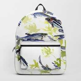 Fish Blue green fish design zebra fish, Danio aquarium Aquatic design underwater scene Backpack