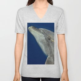 Making friends with a bottlenose dolphin Unisex V-Neck