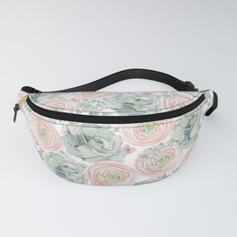 Flowers And Succulents White  #buyart #decor #society6 Fanny Pack