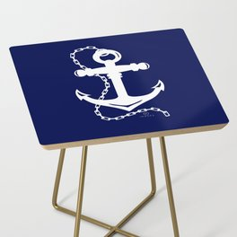 AFE Navy & White Anchor and Chain Side Table