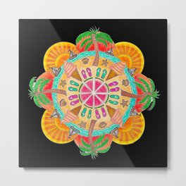 Summer Mandala on black Metal Print