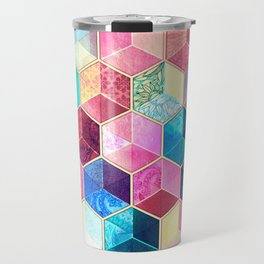 Topaz & Ruby Crystal Honeycomb Cubes Travel Mug