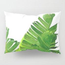 Palm banana leaves tropical watercolor illustration Pillow Sham