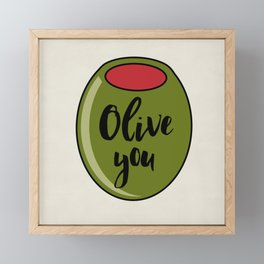 Olive You I Love You Funny Cute Valentine's Day Art Framed Mini Art Print