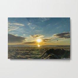 Sunset North Sea Denmark Bjerregard Beach Metal Print