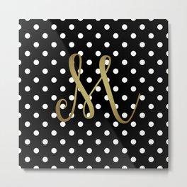 "Retro Black and White Polka Dot with Gold ""M"" Monogram Metal Print"