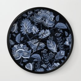 Blooms in the blue night Wall Clock
