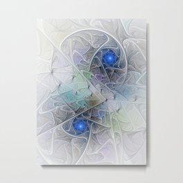 Little Blue Spirals Fractal Metal Print