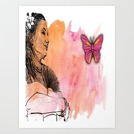 GIRL BUTTERFLY Pop Art Art Print