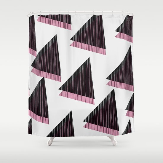 Pink Triangles III Shower Curtain