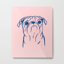 Pug (Pink and Blue) Metal Print