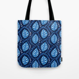 Beautiful Decorative Blue Leaves Pattern Tote Bag