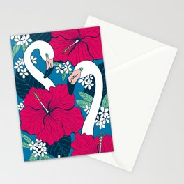 Flamingos and tropical flowers and leaves Stationery Cards