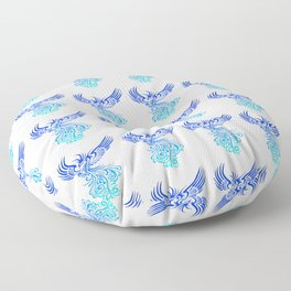 Rising From The Ashes Phoenix Blue Aqua Ombre Floor Pillow