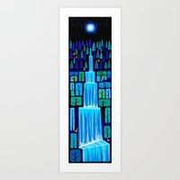 waterfall Art Prints featuring Waterfall by Peter Donnelly Illustration