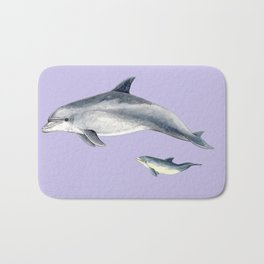 Bottlenose dolphin purple background Bath Mat