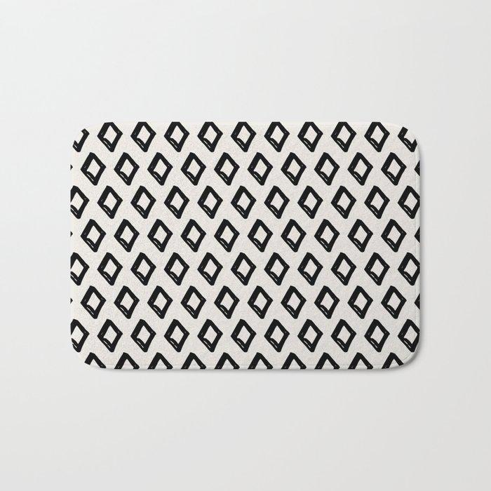 Modern Diamond Pattern 2 Black On Light Gray Bath Mat By