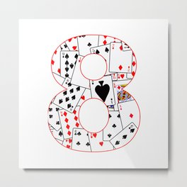 Number Eight Cards Metal Print
